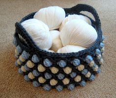 This quirky basket is worked in the round from the bottom up. You can customise it to your preferred size by working more or less rounds of the base.