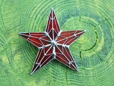 Stained Glass Brooch  Kremlin Star Glass Art от TheStainedGlassCo