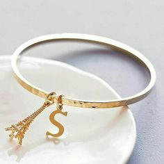 Gorgeous gold plated hammered bangle with a gold plated initial charm. This lovely hammered face bangle is on trend this year with stunning shine. This makes the perfect gift as you can personalise w. Gold Bangles, Bangle Bracelets, Gold Jewelry, Women Jewelry, Jewellery, S Letter Images, Letter Pictures, Dp Pictures, Letter Art