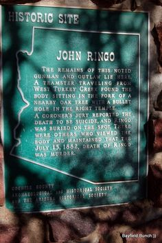 Johnny Ringo historic marker  From: http://thebayfieldbunch.com/2009/12/to-day-we-found-final-resting-place-of.html?m=1
