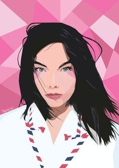 #Bjork #Portrait #Geometric #Illustration #Face #Pink