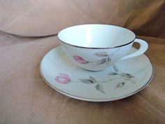 """Vintage Style House Cup and Saucer, """"Dawn Rose"""" pattern Montgomery Ward Made in Japan by GrandmothersTable on Etsy Vintage Style, Vintage Fashion, Montgomery Ward, Flower Decorations, Cup And Saucer, Dawn, Tea Cups, Birds, Dishes"""