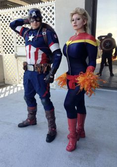 The amazing Belle Chere and Michael Cox Cosplaying Cap and Marvel. A great shot with the reflection. Captain America Suit, Captain America Cosplay, Captain Marvel Carol Danvers, Crazy Costumes, Avengers 2, Marvel Cosplay, Age Of Ultron, Marvel Comic Books, Deviantart