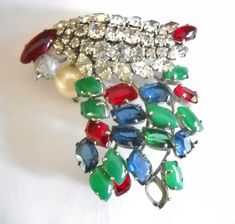 Christian Dior Brooch Made in Germany 1962 Ruby Emerald Sapphire Clear Rhinestone Grosse Germany Mid Century Designer Signed Statement
