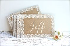 Lace Wedding Place Cards - Escort Cards - Name Cards - Rustic Weddings Name Place Cards, Wedding Place Cards, Wedding Signs, Wedding Table, Diy Wedding, Fall Wedding, Wedding Venues, Wedding Stationary, Wedding Invitations