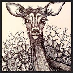 #art #arigart #deer #flowers #flower #ink #indianink #inkdrawing #illustration #instagraphic #instaartist #instaink #poster #print #graphicprint #graphicart #graphic #blackandwhite #drawing #draw #nature #myartwork #myart #sketch #artcollective #artistmafia #artsy #artlove #artwork #artist