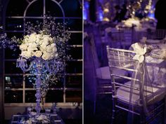 Love the silver candelabra with flowers and the chair.