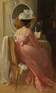 A glorious pink Edwardian gown is the focal point of this oil painting.