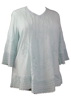 Gretty Zueger Pullover Tunic in Pastel Green 1X-3X