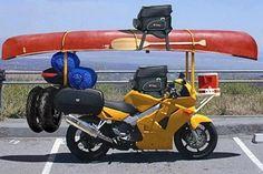 Image detail for -motorcycle-road-trip planning guide, canoe packed bike Motorcycle Towing, Funny Motorcycle, Motorcycle Camping, Motorcycle Tires, Canoe Camping, Canoe And Kayak, Kombi Motorhome, Kayak Storage Rack, Honda