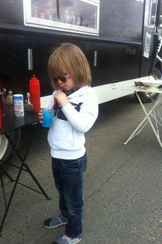 Little boy style + food truck = double love. Jacket: Bench, Jeans: Buffalo, Shoes: Toms. Boy fashion.