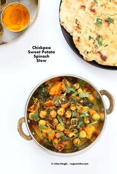 Easy One Pot Chickpea Sweet potato Spinach Curry with Indian Spices. Use spices of choice, pumpkin or other squash and other beans. Vegan gluten-free soy-free Recipe