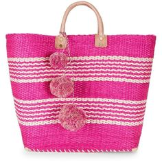 Mar Y Sol Caracas Tote (4.320 RUB) ❤ liked on Polyvore featuring bags, handbags, tote bags, stripe tote bag, pink purse, man tote bag, hand bags and man bag