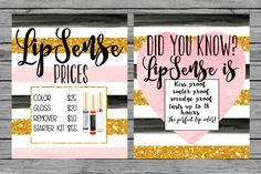 INSTANT DOWNLOAD LipSense Printables Gold black blush pink Lipsense party black gold party prints Lipsense information prices DIY decor by MINTablePrintables on Etsy
