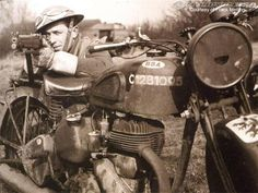 British Despatch rider with his BSA M20 in the field.