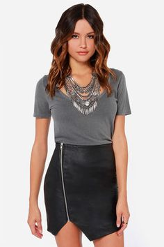 Cute Black Skirt - Vegan Leather Skirt - Envelope Skirt - envelope,  #vegan leather  #cute