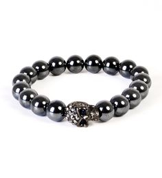 Am liking this Gunmetal Skull and Hematite Bead Bracelet