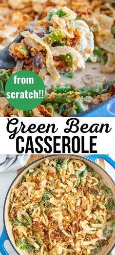 A super tasty version of a classic, made from scratch using fresh ingredients. This green bean casserole is a family favorite that everyone will love! #casserole #greenbeans #sidedish #thanksgiving Sauteed Green Beans, Roasted Sprouts, Frozen Green Beans, Glazed Carrots, Cooking With Olive Oil, Grilled Zucchini, Twice Baked Potatoes, Green Bean Casserole, Thanksgiving Side Dishes