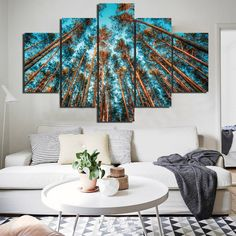 5-Piece Multi Panel Modern Home Decor Framed Skyview Pine Trees Wall Canvas Art