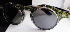 Womens Sunglasses Handpainted Lime Green Black Custom Eyewear Round Flip Frame  #Unbranded #Round