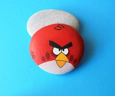 Angry Bird Hand Painted Stone by KanetisStones on Etsy