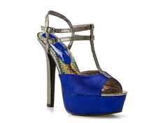 Royal blue and pewter t-strap