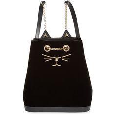 Charlotte Olympia Women's Feline Velvet Backpack - Black ($569) ❤ liked on Polyvore featuring bags, backpacks, black, velvet backpack, rucksack bag, chain strap backpack, chain bag and day pack backpack