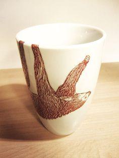 Tazza tazza di caffè o tè di bradipo per pigrizia di lento alzate Jungle appeso su una 12 oz caffè tazza ceramica animale tazza di cioccolat...