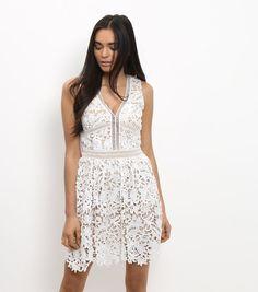 White Lace Ladder Trim Skater Dress  | New Look