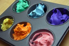 Mix shaving cream and food color then finger paint or use large craft brushes! quick, easy and clean fun!