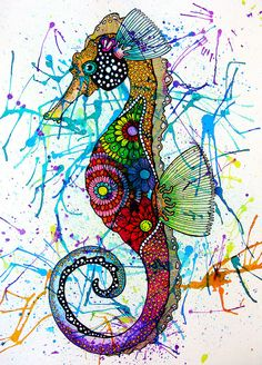 Seahorse - Project possibility: Have students do transfer drawing then ink it, use liquid watercolors for vivid colors.