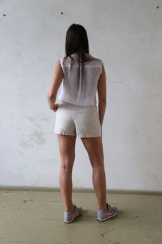 Lino vintage short pantaloncini shorts a di MeadowSideVintage