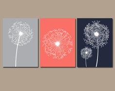 DANDELION Wall Art CANVAS or Prints Gray Coral Aqua por TRMdesign