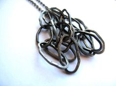 Brass Long Necklace Multi Textured Chain by HomeGrownIllinois, $13.00