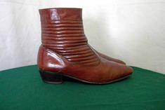 Sz 10.5 men Vintage Brown leather Stacy Adams 1980s flat zip