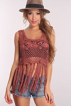 Looking for something sexy for this summer? Dress up in this sexy fringe crop top, You can style it with high waist shorts and a sexy bathing suit top! This sexy crop top features a scoop neckline, sleeveless, knitted all throughout and a fringed hem. Youll definitely have heads turning! Throw on your Favorite Sandals or heels and walk the sunset board walk with your gals or that special someone! 100% Acrylic