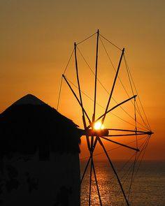 Windmill in the sunset, Mykonos, Greece Mycenaean, Minoan, Mykonos Greece, Socrates, Crete, Windmill, Wind Turbine, Mythology, Romantic