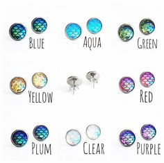 Hypoallergenic Mermaid Stud Earrings 10mm von CaliforniaAve auf Etsy