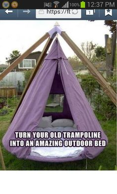 Reuse an old trampoline into an outdoor swing bed