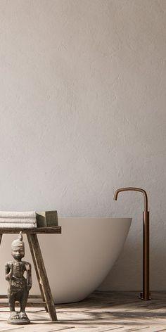 Piet Boon koperen design badkamer kranen bycocoon.com | Piet Boon® by COCOON design bathroom faucets in raw copper finishing | inox stainless steel freestanding bathroom tap | bronze tapware | bathroom design | minimalist bathroom | combined with COCOON freestanding bath tub | Dutch Designer Brand COCOON
