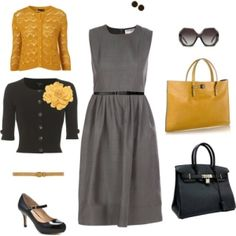 mustard and gray outfit with black accents great for luncheons, office to evening