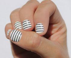 Black & White Stripes Nail Wraps by SoGloss on Etsy