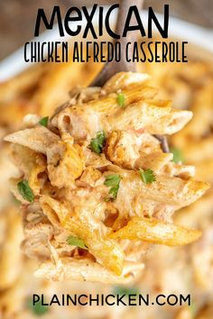 Mexican Chicken Alfredo Casserole Mexican Chicken Alfredo Casserole,Casseroles Mexican Chicken Alfredo Casserole – for when you can't decide between Mexican and Italian for dinner! This is super easy to make and tastes AMAZING! Alfredo Casserole Recipe, Casserole Recipes, Casserole Dishes, Mexican Chicken Casserole, Chicken Taco Bake, Authentic Mexican Chicken Recipes, Easy Mexican Food Recipes, Cheap Pasta Recipes, Easy Mexican Dishes