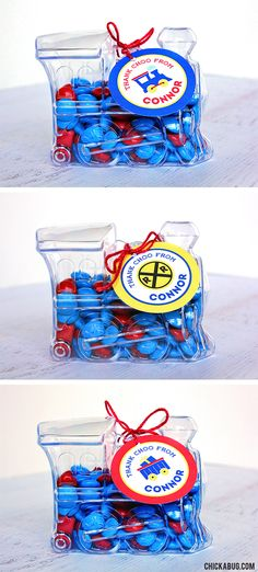 These are the cutest train party favors ever! Clear train candy boxes filled with candy, and favor tags from Chickabug. Easy and PERFECT for a train party! Trains Birthday Party, 75th Birthday, Geek Party, Party Party, Train Party Favors, Sesame Street Birthday, Minecraft Party, Thomas The Train, Birthday Cookies