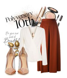 """""""Celebrate Our 10th Polyversary!"""" by cordelia-fortuna ❤ liked on Polyvore featuring Alexander McQueen, Elizabeth and James, Gianvito Rossi, Monica Rich Kosann, polyversary and contestentry"""