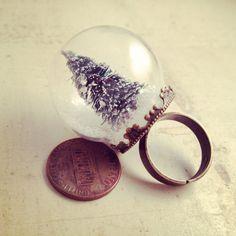 Snow Globe Ring Glas Pine Tree Ring von ingredientsforlovely