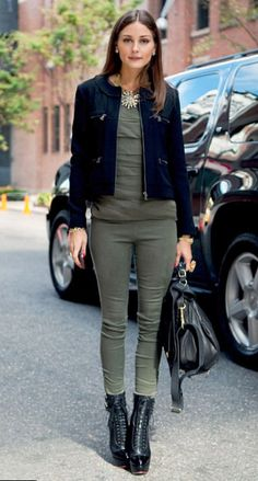 "Olivia Palermo 5'6"" petite fashion approved. Cropped jacket check. monochromatic mostly check."