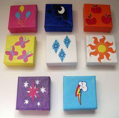 My Little Pony Friendship Is Magic Cutie Mark Oil Painting Kawaii 4 x 4 on Etsy, $15.00