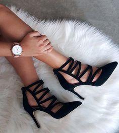 Date night heels fancy shoes, pretty shoe Fancy Shoes, Pretty Shoes, Cute Shoes, Me Too Shoes, High Heels For Prom, Prom Heels, Black High Heels, Shoe Boots, Shoes Heels