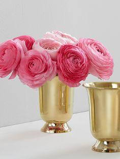 Pink & Gold: Pink ranunculus in a polished brass vase.